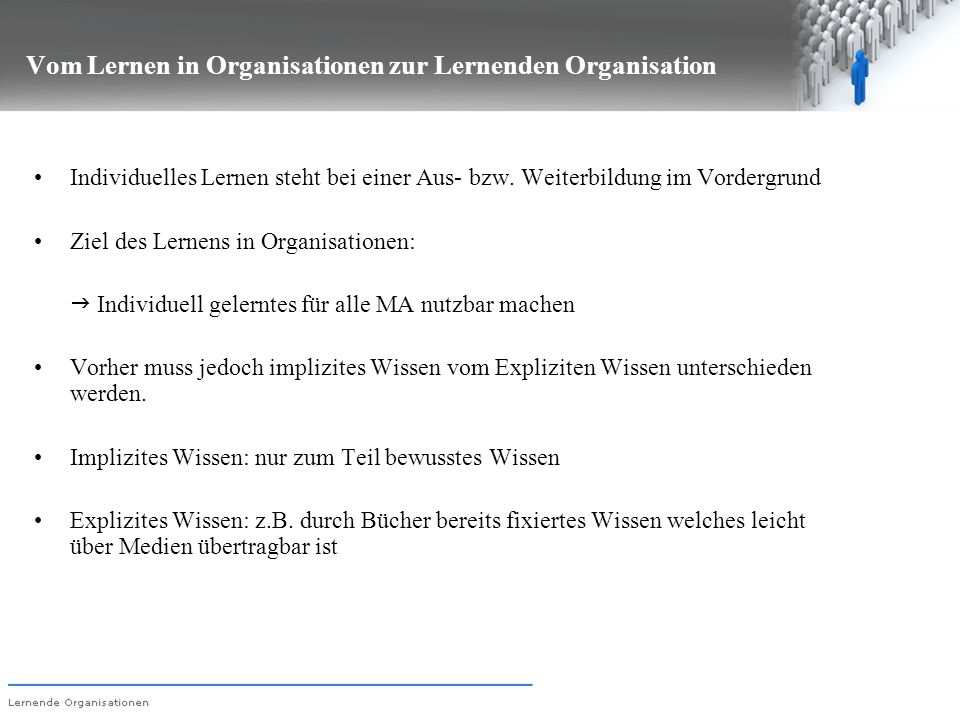 Vom Lernen in Organisationen zur Lernenden Organisation Individuelles Lernen steht bei einer Aus- bzw. Weiterbildung im Vordergrund Ziel des Lernens i