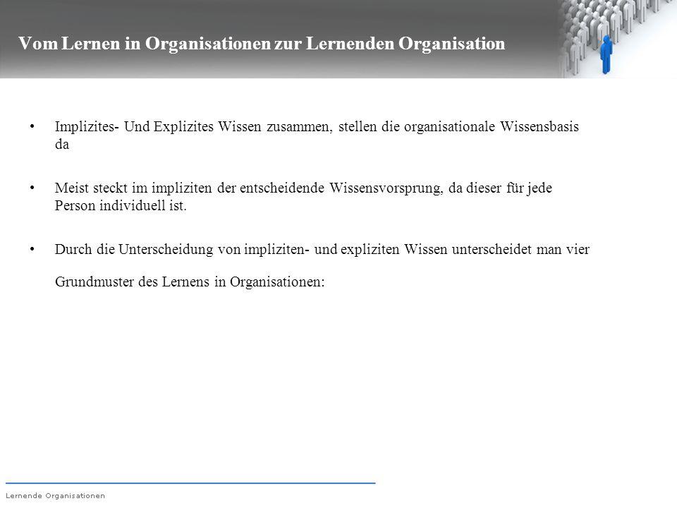 Vom Lernen in Organisationen zur Lernenden Organisation Implizites- Und Explizites Wissen zusammen, stellen die organisationale Wissensbasis da Meist