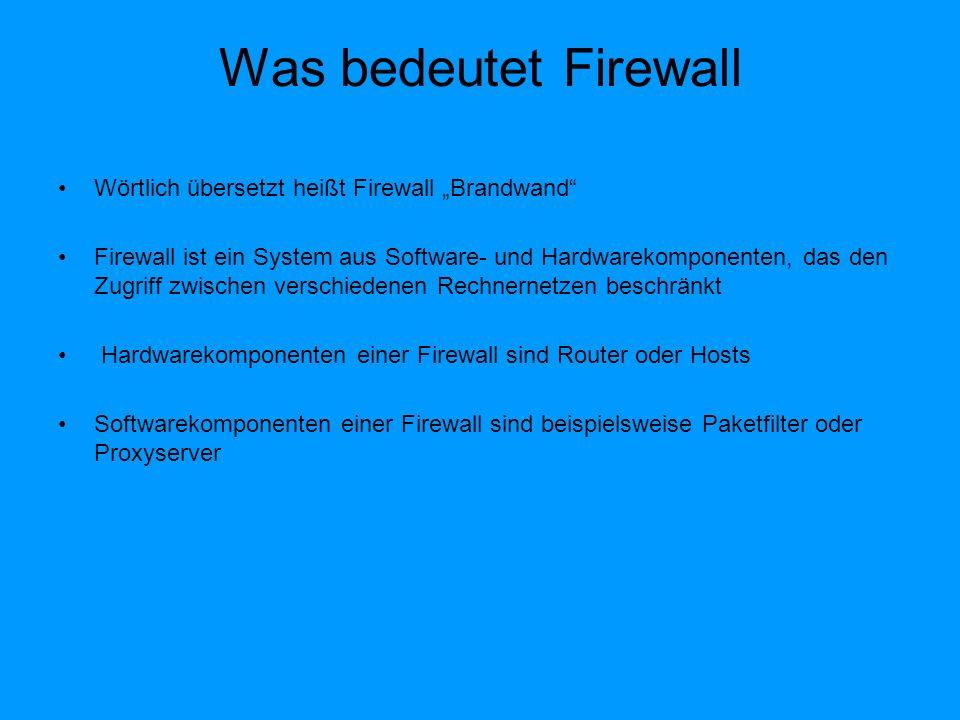 Aufgabe der Firewall Kontrolliert den Datenverkehr zwischen lokalem Netzwerk und Internet Auch zwischen zwei oder mehreren organisationsinternen Netzen kann eine Firewall verwendet werden, um dem unterschiedlichen Schutzbedarf der Zonen Rechnung zu tragen Die Firewall lässt nur gewünschten Datenverkehr durch und blockt den unerwünschten Datenverkehr Die Firewall hat im eigentlichen Sinn nur 2 Aufgaben: * Unterbinden von ungewolltem Datenverkehr von externen Computersystemen zum geschützten Bereich * Unterbinden von ungewolltem Datenverkehr vom geschützten Bereich zu externen Systemen