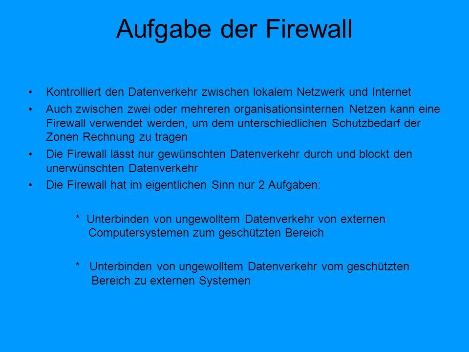 Personal Firewall Host-Firewall Personal Firewalls werden lokal auf dem PC installiert Viele Produkte legen ihren Schwerpunkt auf einfache Konfiguration Sie kontrollieren nicht den Datenverkehr zwischen Netzwerken sondern den Datenverkehr von und ins Internet Personal Firewalls bieten die Möglichkeit, Verbindungen mit dem Internet auf bestimmte Programme oder Benutzer zu beschränken Es ist umstritten ob die Personal Firewall auch richtig schützen, da sie als Software auch von den Sicherheitslücken des Betriebssystems betroffen sind Hardware-Firewall ist sicherer als Software Firewall Bei Freigabe der falschen Programme, können trotz Firewall Sicherheitslücken auftreten