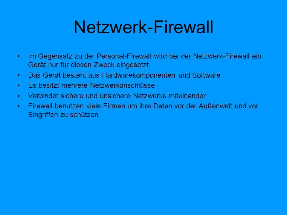 Firewall Ports Jeder PC der mit dem Internet verbunden besitzt 65536 Ports Ports sind einfach ausgedrückt die Tore zur Außenwelt Nicht verwendete Ports sind nicht geschlossen, sondern können offen sein und damit für jeden zugänglich Dieses gilt besonders für die Sytemports (<1024)z.b Ftp Port 21,http Port 80 Es gibt 2 Arten von geschlossene Ports : - Geschlossene und unsichtbare Ports- Beide sind für die Außenwelt unzugänglich Der wesentliche Unterschied besteht darin : beim geschlossenen Port erhält der Angreifer eine Antwort, dass er auf einen geschlossenen Port getroffen ist beim unsichtbaren Port bekommt der Angreifer keine Antwort