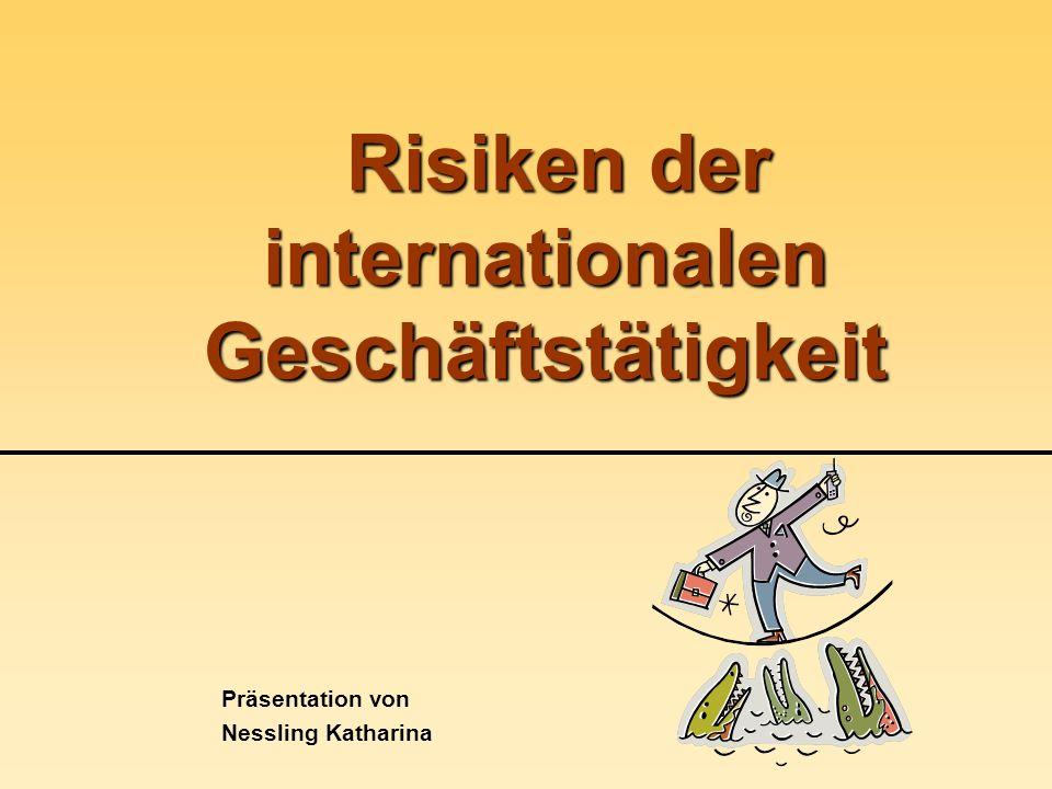 Risiko-Typologie internationale Geschäftstätigkeit => höhere Risiken Gründe: Größere Räumliche Distanz Mentalitätsunterschiede Sprachunterschiede Unterschiedliche politische und rechtliche Rahmenbedingungen Längere Handelsketten Spezifische Konkurrenzbedingungen am Auslandsmarkt