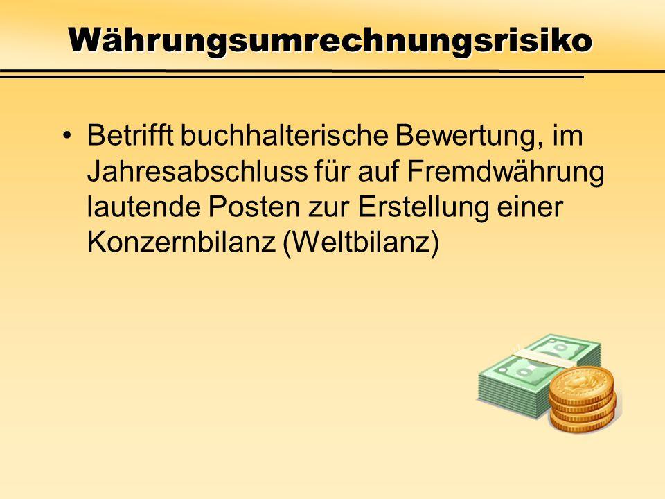 Betrifft buchhalterische Bewertung, im Jahresabschluss für auf Fremdwährung lautende Posten zur Erstellung einer Konzernbilanz (Weltbilanz) Währungsum