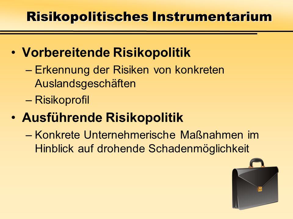 Vorbereitende Risikopolitik –Erkennung der Risiken von konkreten Auslandsgeschäften –Risikoprofil Ausführende Risikopolitik –Konkrete Unternehmerische Maßnahmen im Hinblick auf drohende Schadenmöglichkeit Risikopolitisches Instrumentarium