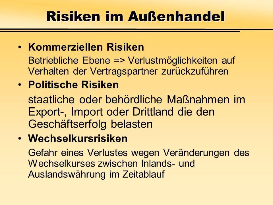 Risiken im Außenhandel Kommerziellen Risiken Betriebliche Ebene => Verlustmöglichkeiten auf Verhalten der Vertragspartner zurückzuführen Politische Ri