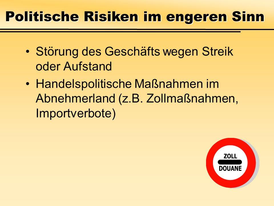 Störung des Geschäfts wegen Streik oder Aufstand Handelspolitische Maßnahmen im Abnehmerland (z.B. Zollmaßnahmen, Importverbote) Politische Risiken im