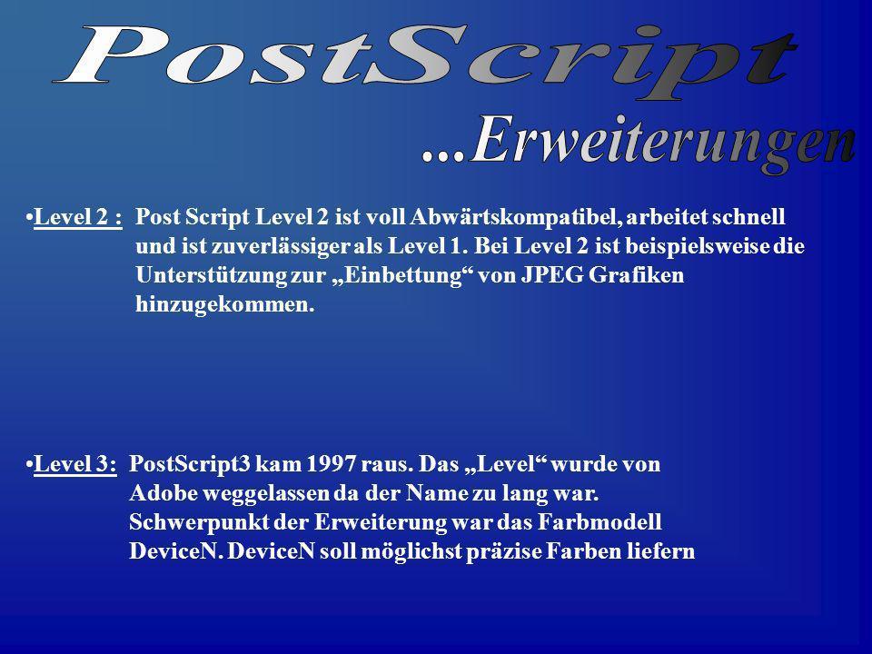 Level 2 : Post Script Level 2 ist voll Abwärtskompatibel, arbeitet schnell und ist zuverlässiger als Level 1. Bei Level 2 ist beispielsweise die Unter