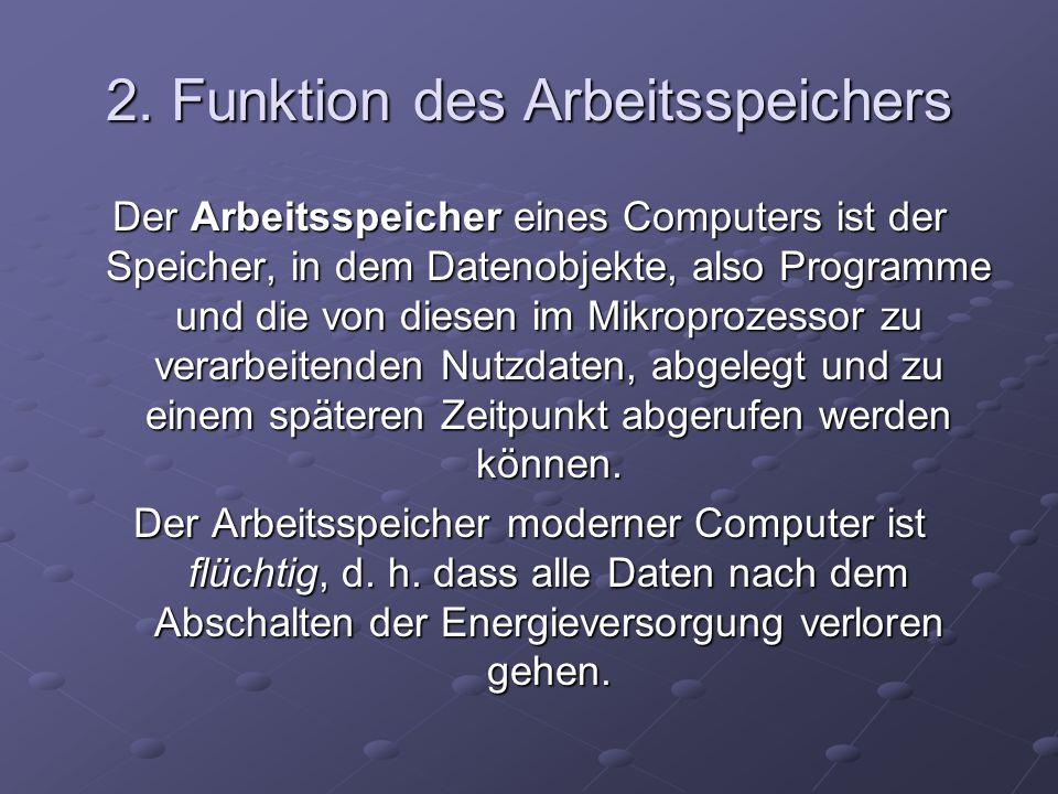 2. Funktion des Arbeitsspeichers Der Arbeitsspeicher eines Computers ist der Speicher, in dem Datenobjekte, also Programme und die von diesen im Mikro
