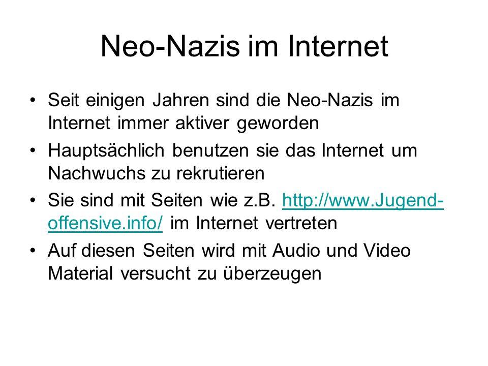Neo-Nazis im Internet Seit einigen Jahren sind die Neo-Nazis im Internet immer aktiver geworden Hauptsächlich benutzen sie das Internet um Nachwuchs z