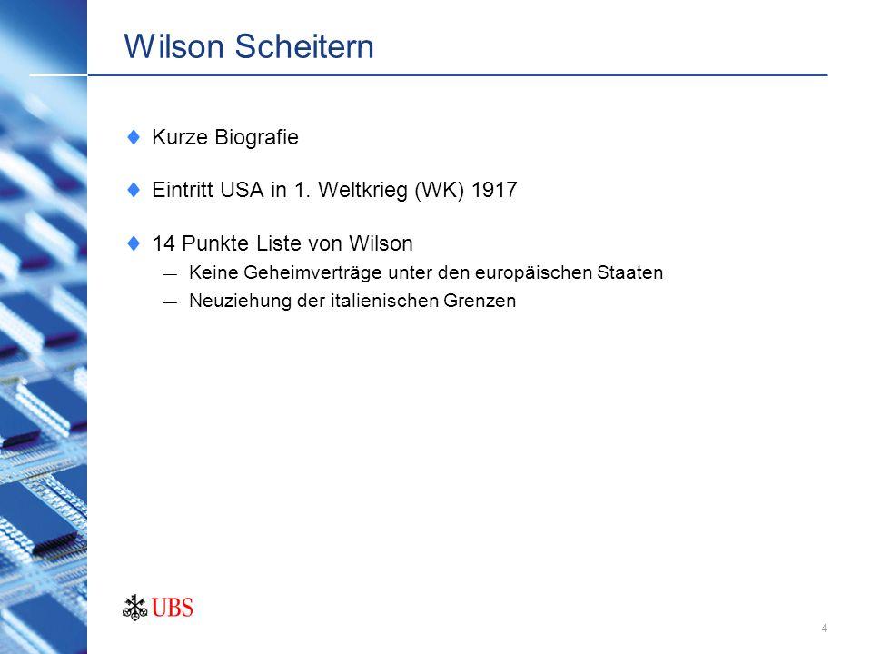 3 Wilson 1856 bis 1924 1890-1910 Professor an der Universität Prince- ton, New Jersey 1912 Präsident der USA, 2 Amtszeiten Kurze Biografie