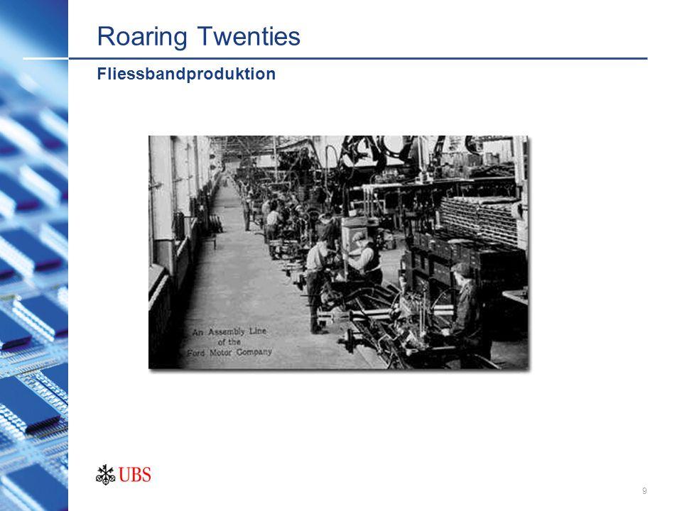 8 Roaring Twenties 1920 bis Börsencrash (Oktober 1929) Beginn Fliessbandproduktion (Henry Ford) Konsumanstieg Börsencrash Goldige 20er