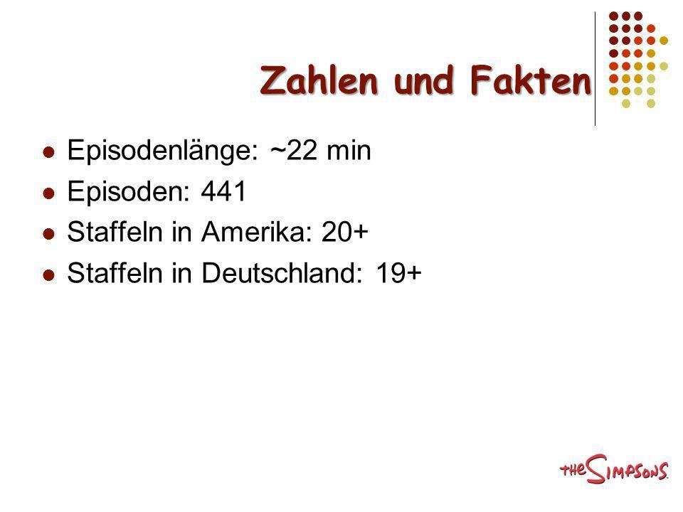 Zahlen und Fakten Episodenlänge: ~22 min Episoden: 441 Staffeln in Amerika: 20+ Staffeln in Deutschland: 19+