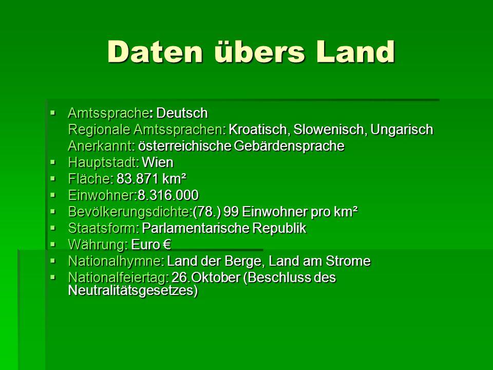 Daten übers Land Amtssprache: Deutsch Amtssprache: Deutsch Regionale Amtssprachen: Kroatisch, Slowenisch, Ungarisch Anerkannt: österreichische Gebärde