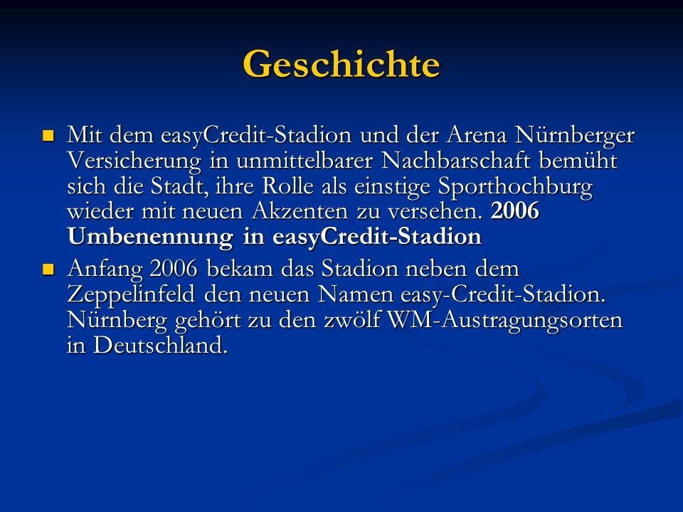 Geschichte Mit dem easyCredit-Stadion und der Arena Nürnberger Versicherung in unmittelbarer Nachbarschaft bemüht sich die Stadt, ihre Rolle als einstige Sporthochburg wieder mit neuen Akzenten zu versehen.