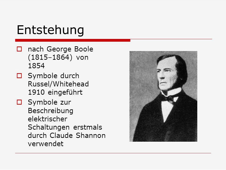 Entstehung nach George Boole (1815–1864) von 1854 Symbole durch Russel/Whitehead 1910 eingeführt Symbole zur Beschreibung elektrischer Schaltungen ers