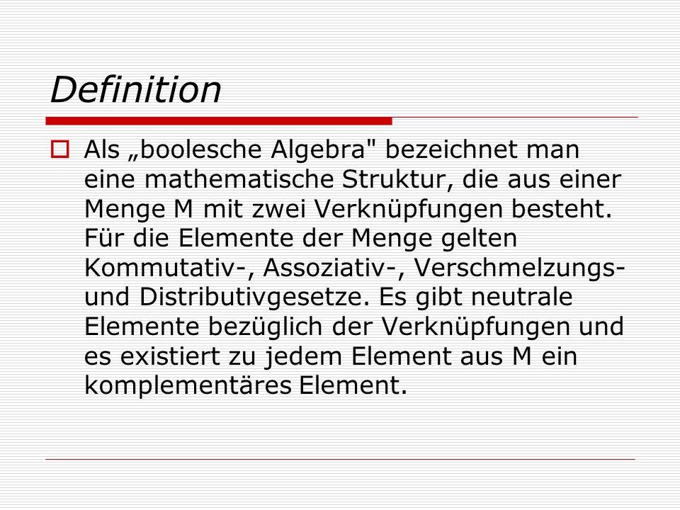 Definition Als boolesche Algebra