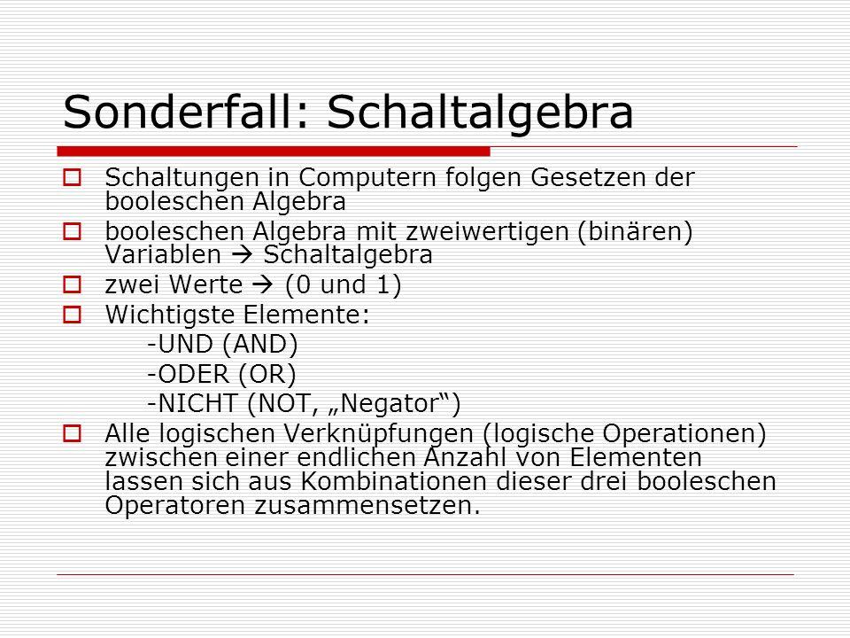 Sonderfall: Schaltalgebra Schaltungen in Computern folgen Gesetzen der booleschen Algebra booleschen Algebra mit zweiwertigen (binären) Variablen Scha