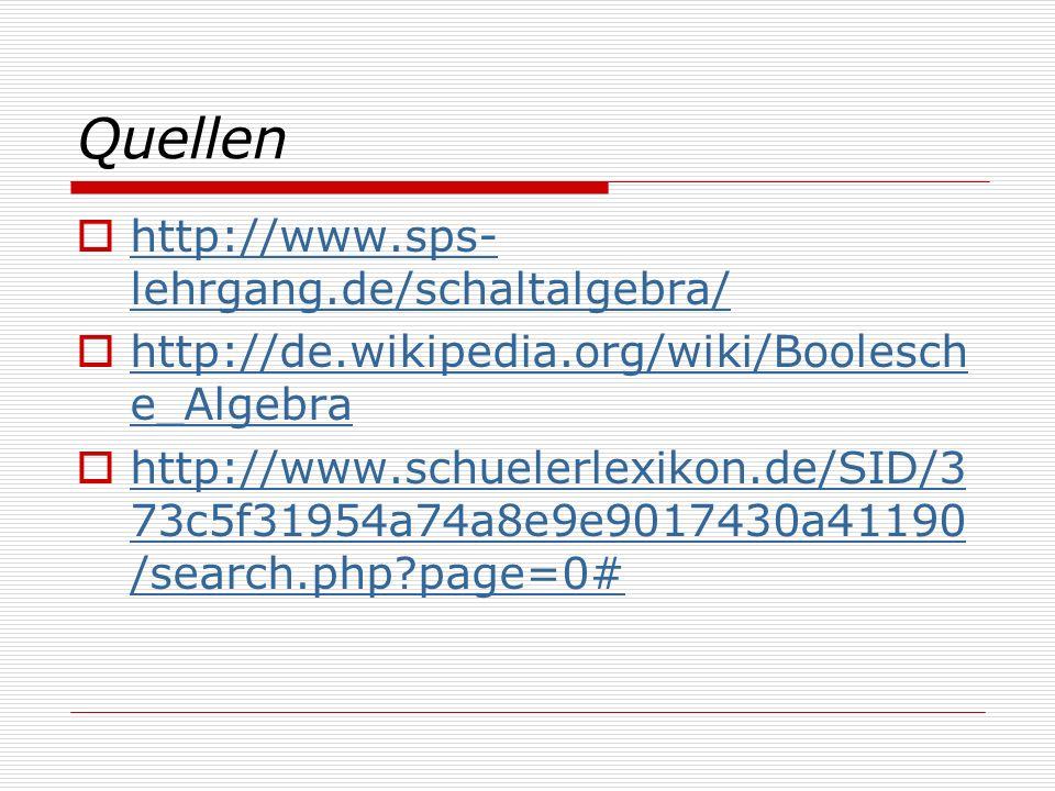 Quellen http://www.sps- lehrgang.de/schaltalgebra/ http://www.sps- lehrgang.de/schaltalgebra/ http://de.wikipedia.org/wiki/Boolesch e_Algebra http://d