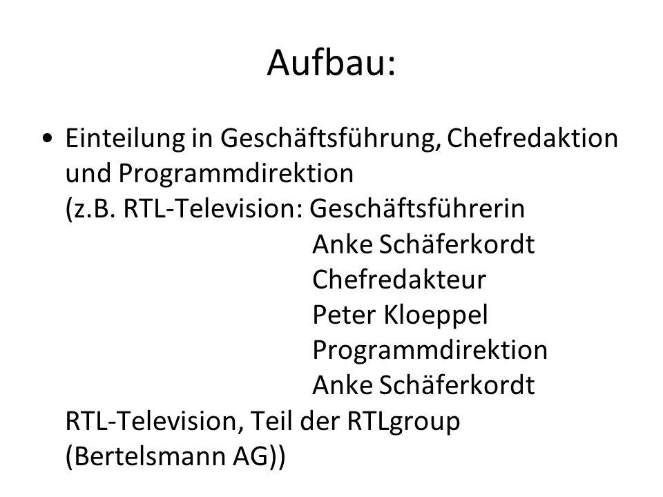 Aufbau: Einteilung in Geschäftsführung, Chefredaktion und Programmdirektion (z.B. RTL-Television: Geschäftsführerin Anke Schäferkordt Chefredakteur Pe