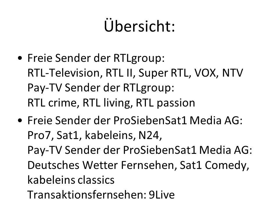 Übersicht: Freie Sender der RTLgroup: RTL-Television, RTL II, Super RTL, VOX, NTV Pay-TV Sender der RTLgroup: RTL crime, RTL living, RTL passion Freie Sender der ProSiebenSat1 Media AG: Pro7, Sat1, kabeleins, N24, Pay-TV Sender der ProSiebenSat1 Media AG: Deutsches Wetter Fernsehen, Sat1 Comedy, kabeleins classics Transaktionsfernsehen: 9Live