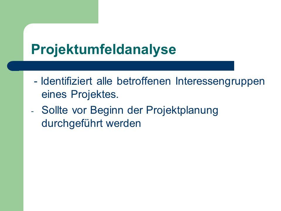 Projektumfeldanalyse - Identifiziert alle betroffenen Interessengruppen eines Projektes. - Sollte vor Beginn der Projektplanung durchgeführt werden