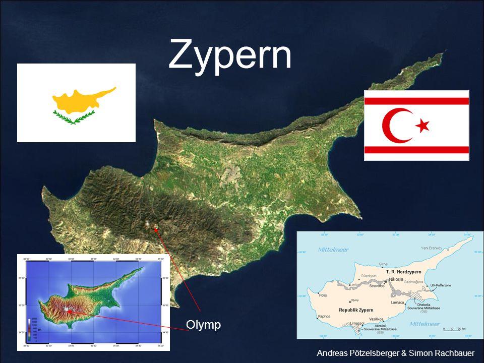 Daten: Fläche:9251 km² Hauptstadt:Nikosia Einwohner:758000 Bevölkerungsdichte:82 Einwohner/km² Geburten-/Sterblichkeitsrate:12,58/ 7,72 pro 1000 Einwohner Höchster Berg:Olymp Größtes Gewässer:??.