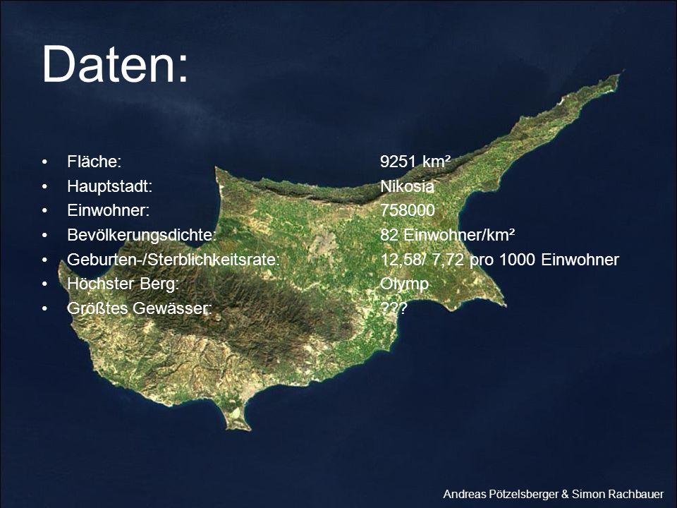Daten: Fläche:9251 km² Hauptstadt:Nikosia Einwohner:758000 Bevölkerungsdichte:82 Einwohner/km² Geburten-/Sterblichkeitsrate:12,58/ 7,72 pro 1000 Einwo