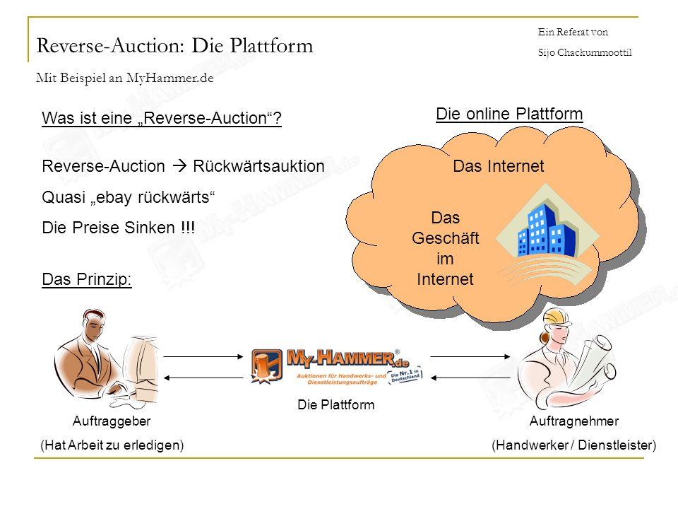 Ein Referat von Sijo Chackummoottil Was ist eine Reverse-Auction? Reverse-Auction Rückwärtsauktion Quasi ebay rückwärts Die Preise Sinken !!! Das Prin