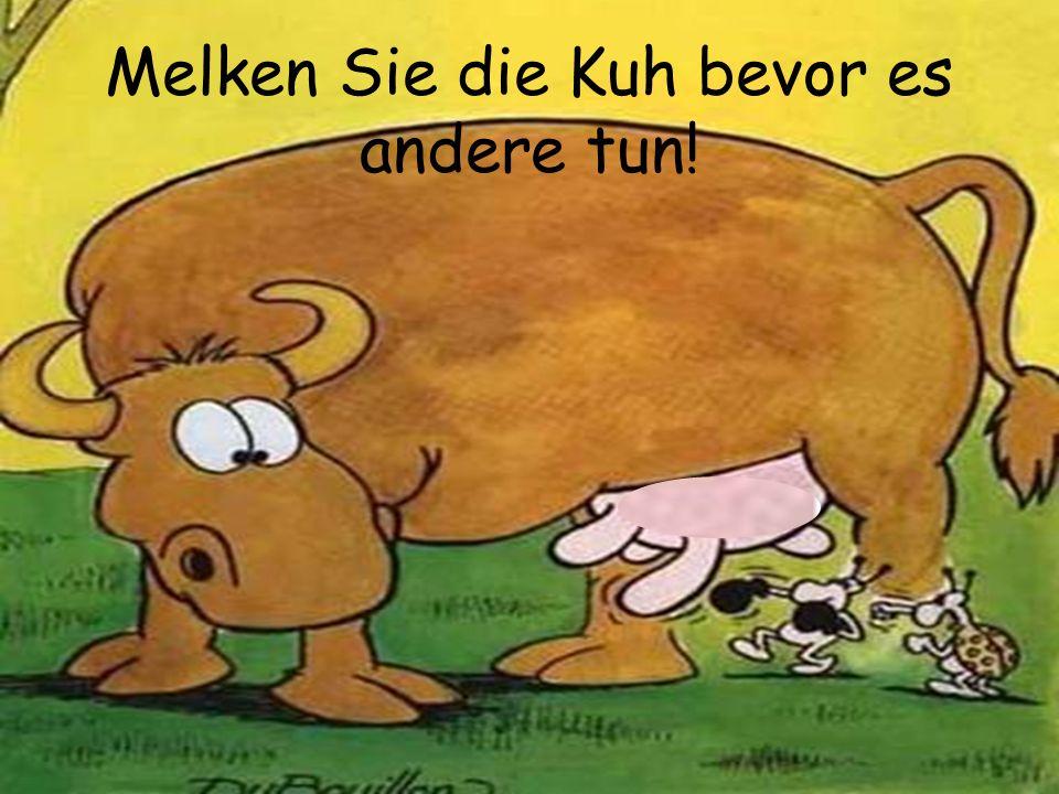 MelkzeitMuh-Präsentation Melken Sie die Kuh bevor es andere tun!