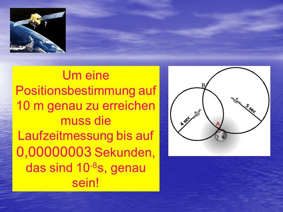 Um eine Positionsbestimmung auf 10 m genau zu erreichen muss die Laufzeitmessung bis auf 0,00000003 Sekunden, das sind 10 -8 s, genau sein!