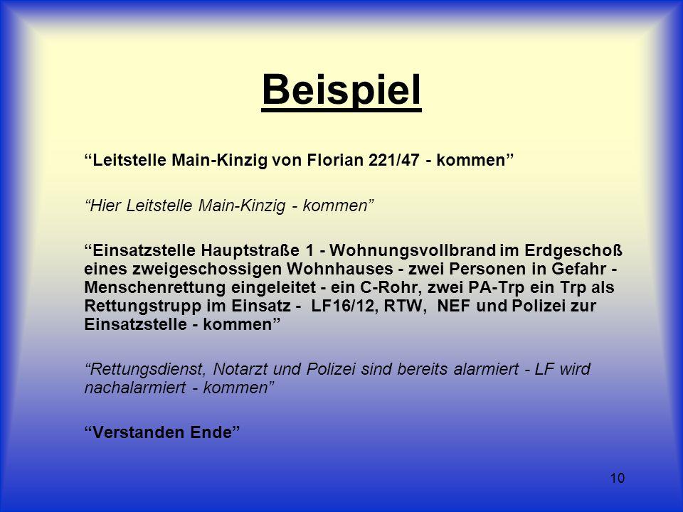 10 Beispiel Leitstelle Main-Kinzig von Florian 221/47 - kommen Hier Leitstelle Main-Kinzig - kommen Einsatzstelle Hauptstraße 1 - Wohnungsvollbrand im