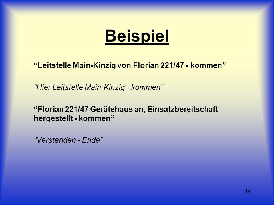 14 Beispiel Leitstelle Main-Kinzig von Florian 221/47 - kommen Hier Leitstelle Main-Kinzig - kommen Florian 221/47 Gerätehaus an, Einsatzbereitschaft