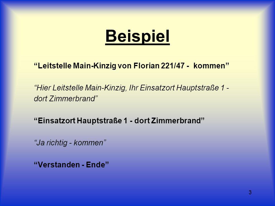 3 Beispiel Leitstelle Main-Kinzig von Florian 221/47 - kommen Hier Leitstelle Main-Kinzig, Ihr Einsatzort Hauptstraße 1 - dort Zimmerbrand Einsatzort