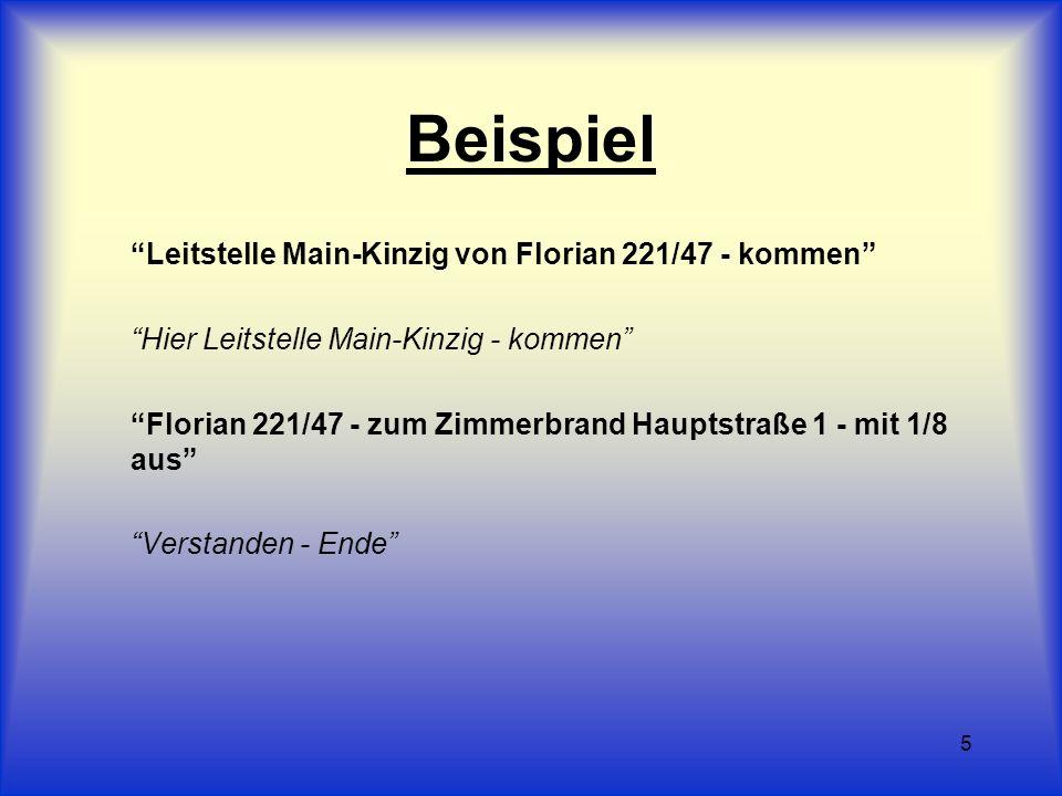 5 Beispiel Leitstelle Main-Kinzig von Florian 221/47 - kommen Hier Leitstelle Main-Kinzig - kommen Florian 221/47 - zum Zimmerbrand Hauptstraße 1 - mi