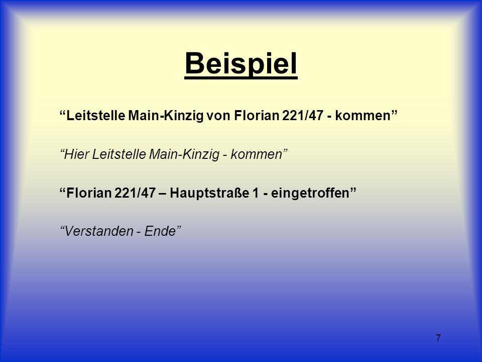 7 Beispiel Leitstelle Main-Kinzig von Florian 221/47 - kommen Hier Leitstelle Main-Kinzig - kommen Florian 221/47 – Hauptstraße 1 - eingetroffen Verst
