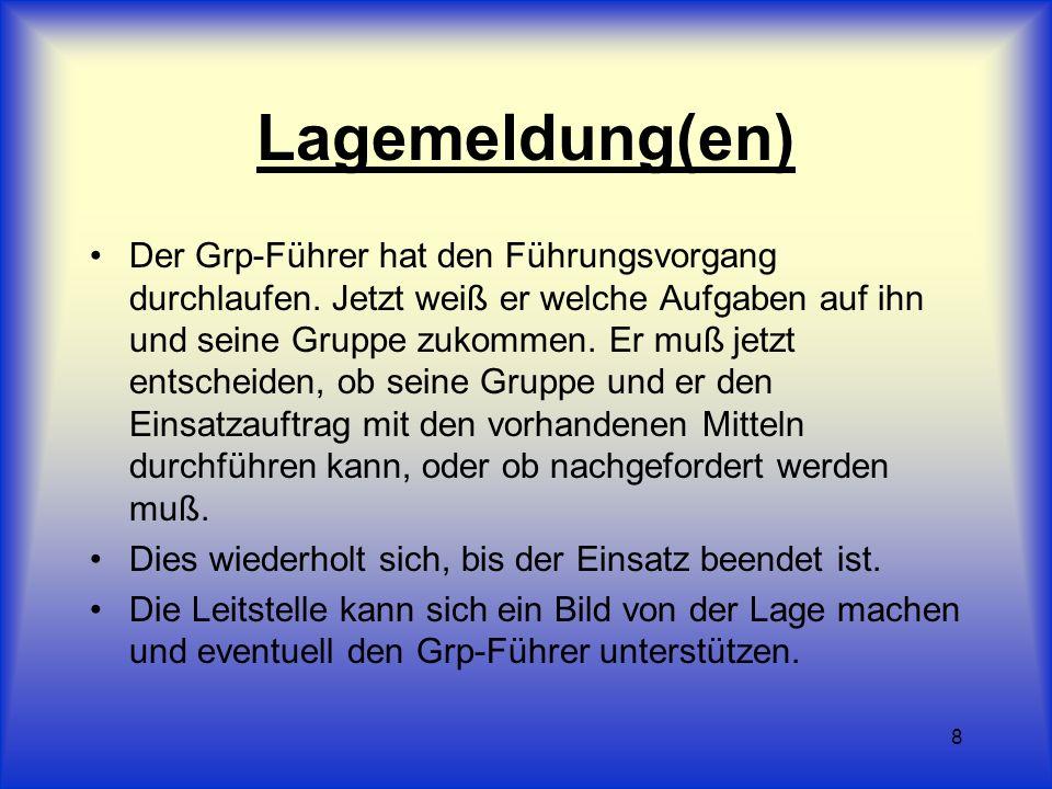 8 Lagemeldung(en) Der Grp-Führer hat den Führungsvorgang durchlaufen. Jetzt weiß er welche Aufgaben auf ihn und seine Gruppe zukommen. Er muß jetzt en