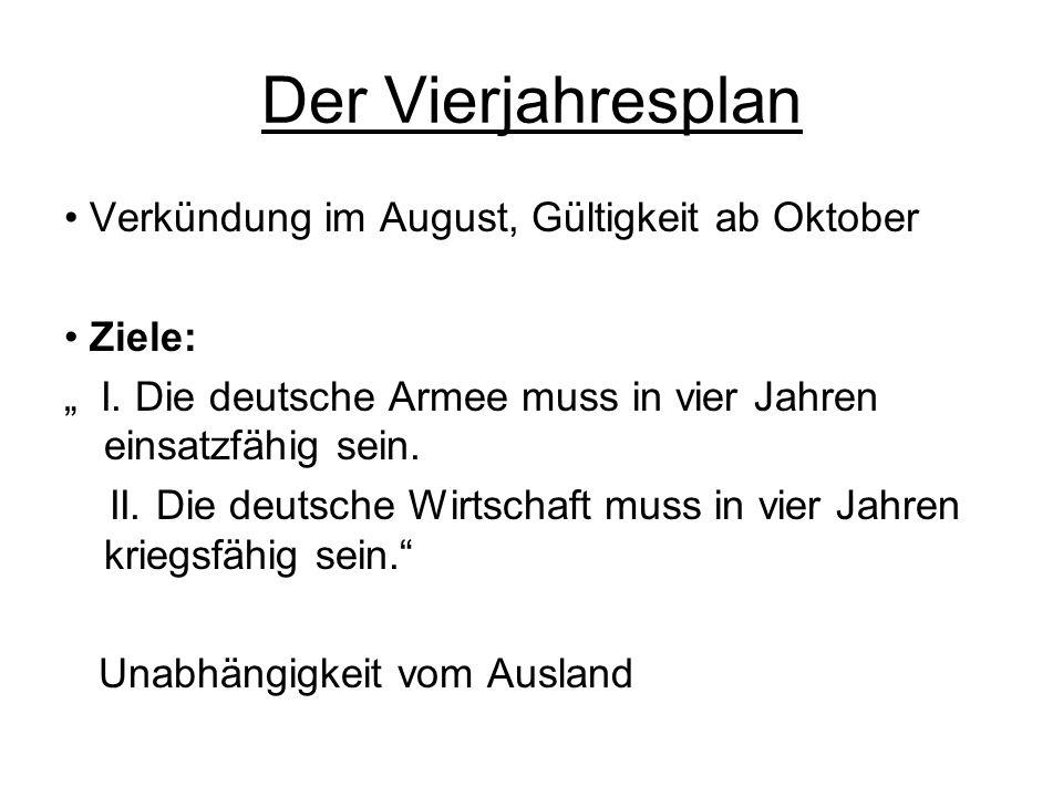 Der Vierjahresplan Verkündung im August, Gültigkeit ab Oktober Ziele: I.