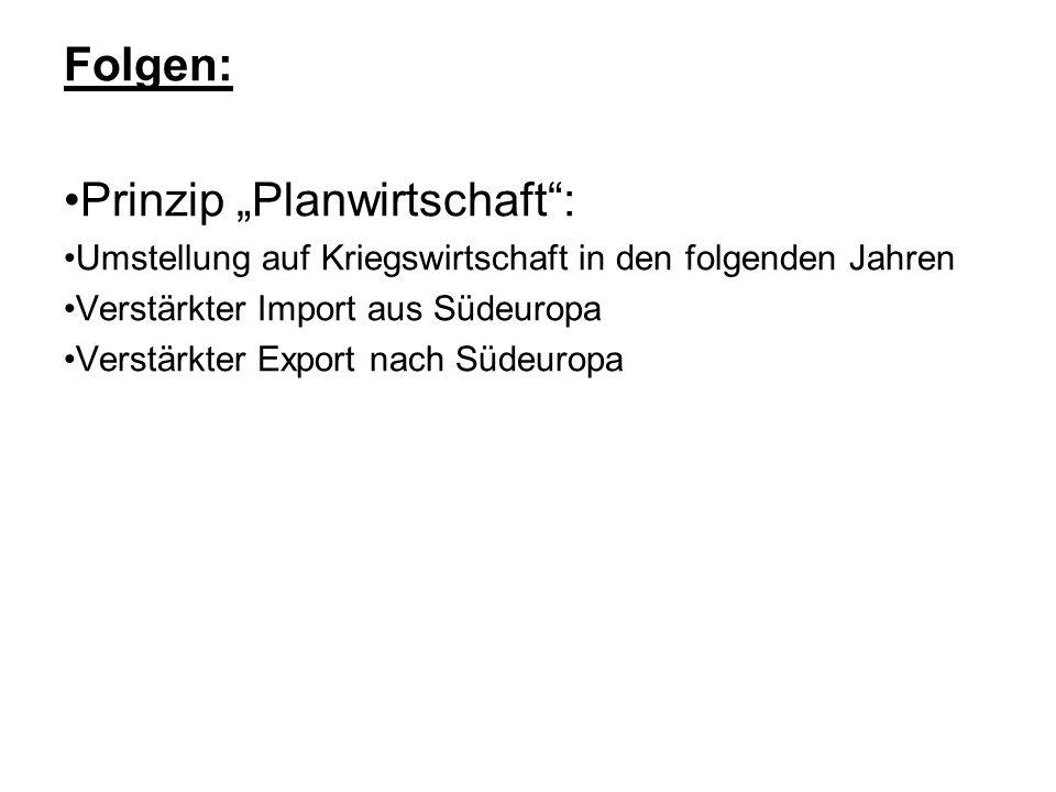 Folgen: Prinzip Planwirtschaft: Umstellung auf Kriegswirtschaft in den folgenden Jahren Verstärkter Import aus Südeuropa Verstärkter Export nach Südeuropa