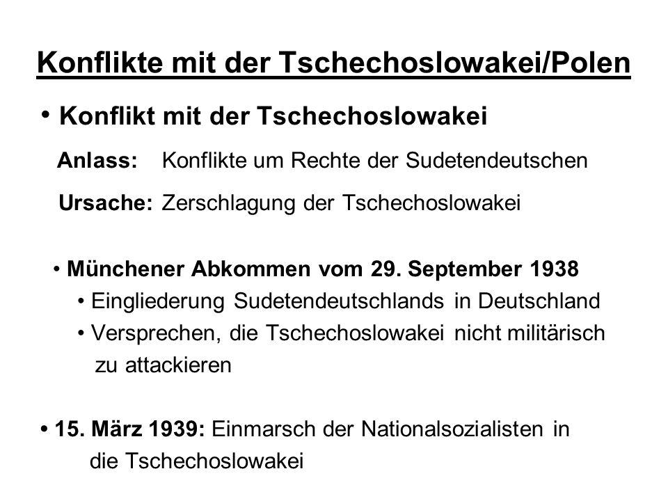 Konflikte mit der Tschechoslowakei/Polen Konflikt mit der Tschechoslowakei Anlass: Konflikte um Rechte der Sudetendeutschen Ursache: Zerschlagung der Tschechoslowakei Münchener Abkommen vom 29.