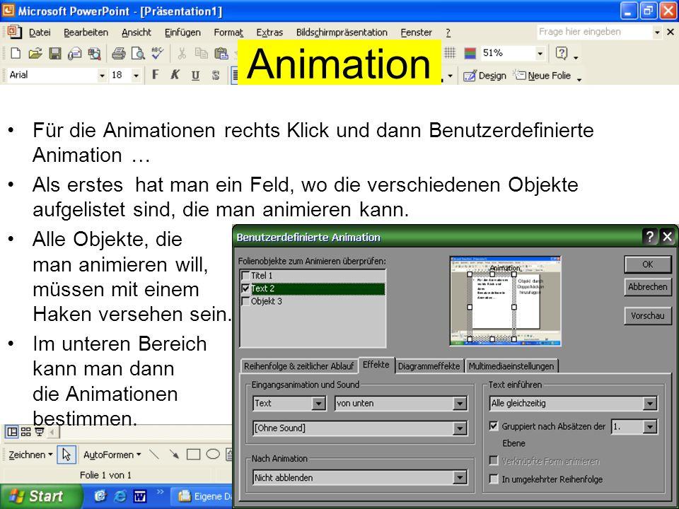 Gestaltung Die Folien können mit allen Wordtools gestaltet werden: Z.B. Fett und Schriftfarbe Gestaltung mit WordArt Gestaltung mit Schattenart oder 3