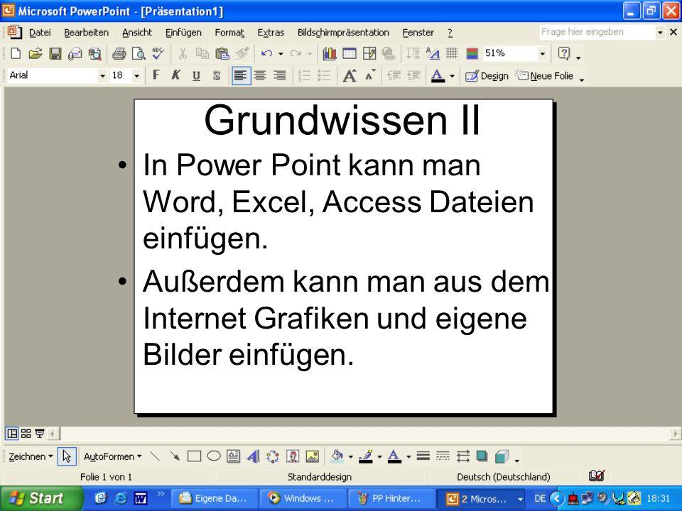 Grundwissen PowerPoint ist im großen und ganzen Microsoft Word, nur das man hiermit auch Texte, Bilder, Sounds und Videos hintereinander auf dem Bilds