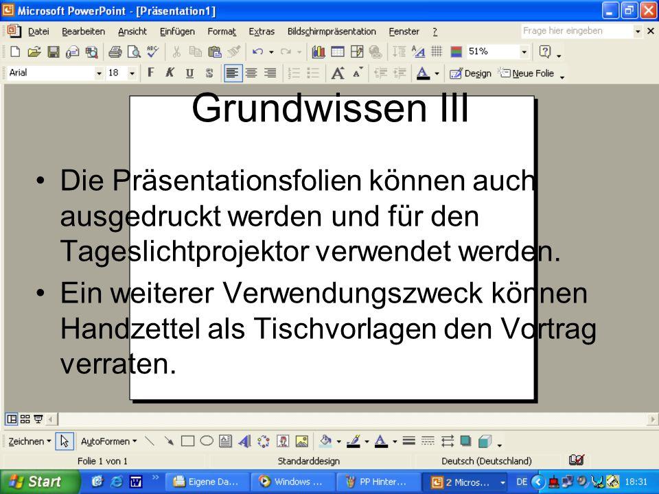 Grundwissen II In Power Point kann man Word, Excel, Access Dateien einfügen. Außerdem kann man aus dem Internet Grafiken und eigene Bilder einfügen.