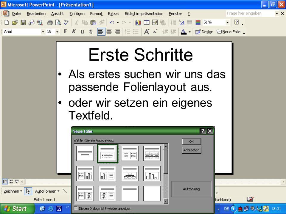 Aufbau von PowerPoint Dies ist das Standartbedienfeld von Microsoft.