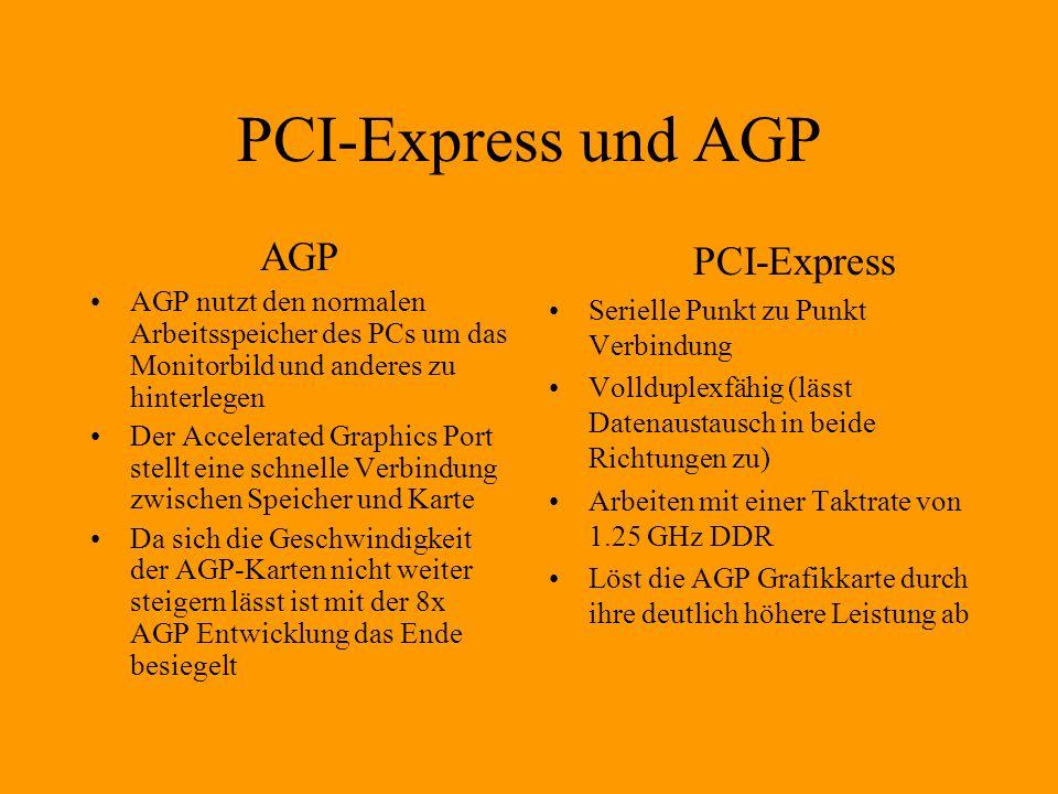 PCI-Express und AGP AGP AGP nutzt den normalen Arbeitsspeicher des PCs um das Monitorbild und anderes zu hinterlegen Der Accelerated Graphics Port stellt eine schnelle Verbindung zwischen Speicher und Karte Da sich die Geschwindigkeit der AGP-Karten nicht weiter steigern lässt ist mit der 8x AGP Entwicklung das Ende besiegelt PCI-Express Serielle Punkt zu Punkt Verbindung Vollduplexfähig (lässt Datenaustausch in beide Richtungen zu) Arbeiten mit einer Taktrate von 1.25 GHz DDR Löst die AGP Grafikkarte durch ihre deutlich höhere Leistung ab