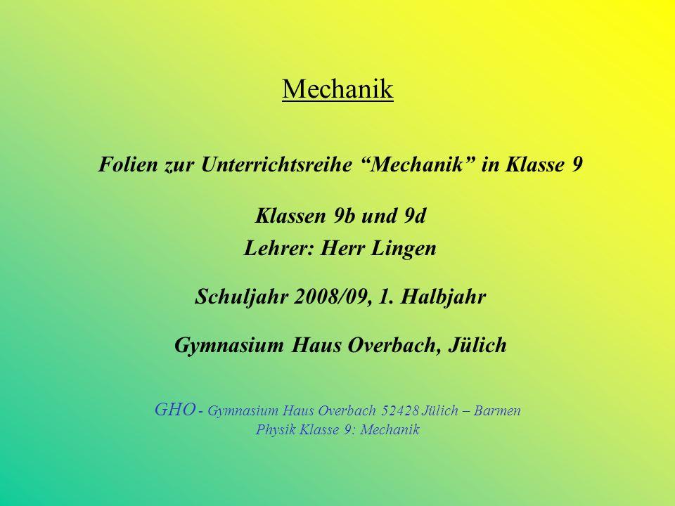 Mechanik Folien zur Unterrichtsreihe Mechanik in Klasse 9 Klassen 9b und 9d Lehrer: Herr Lingen Schuljahr 2008/09, 1.
