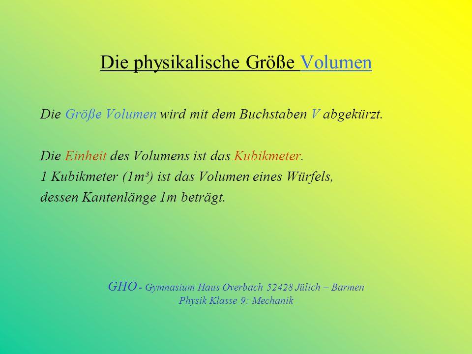 Einheit Quadratmeter – Dezimale Unterteilungen 1m² = 100dm² = 10000 cm² 1dm² = 0,01 m² 1 cm² = 0,0001 m² 1 mm² = 0,000001 m² GHO - Gymnasium Haus Overbach 52428 Jülich – Barmen Physik Klasse 9: Mechanik