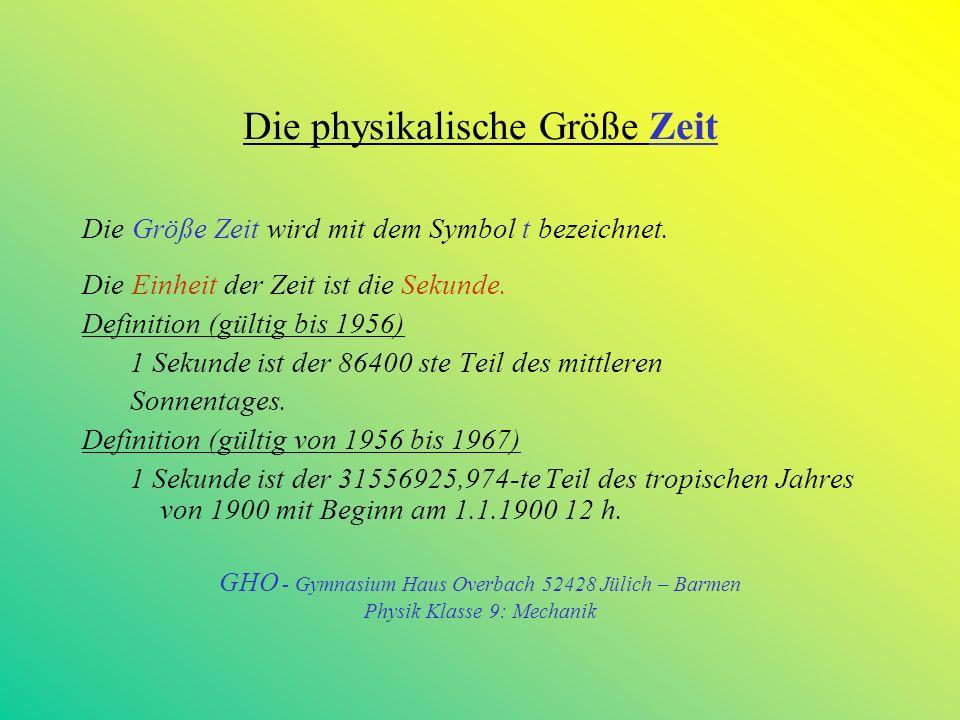 Die physikalische Größe Zeit Die Größe Zeit wird mit dem Symbol t bezeichnet.