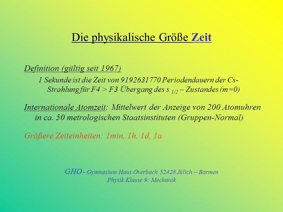 Die physikalische Größe Zeit Definition (gültig seit 1967) 1 Sekunde ist die Zeit von 9192631770 Periodendauern der Cs- Strahlung für F4 > F3 Übergang des s 1/2 – Zustandes (m=0) Internationale Atomzeit: Mittelwert der Anzeige von 200 Atomuhren in ca.