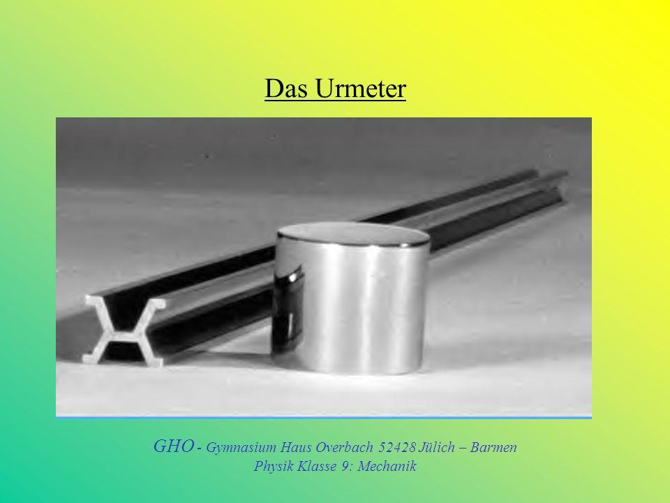 Das Urmeter GHO - Gymnasium Haus Overbach 52428 Jülich – Barmen Physik Klasse 9: Mechanik