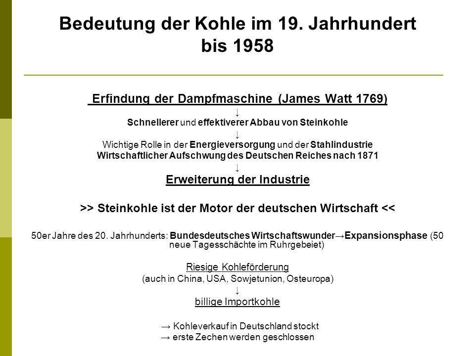 Bedeutung der Kohle im 19. Jahrhundert bis 1958 Erfindung der Dampfmaschine (James Watt 1769) Schnellerer und effektiverer Abbau von Steinkohle Wichti